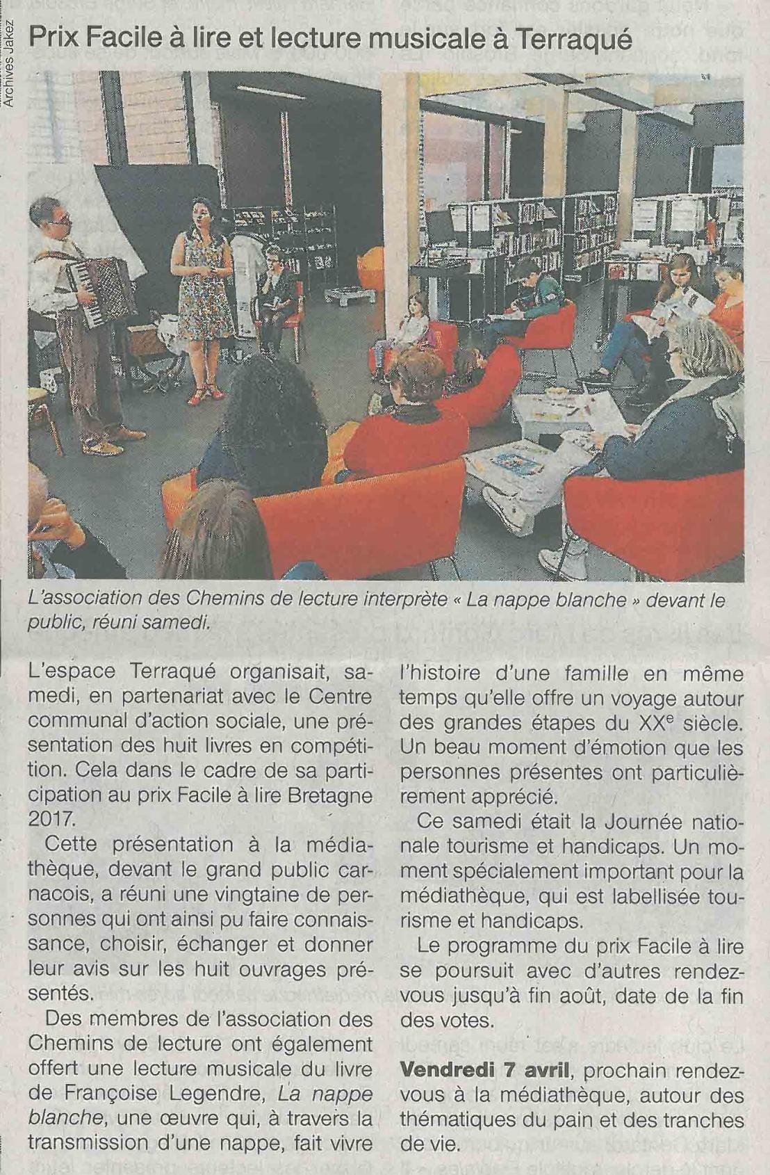 4 avril 2017 OF_CARNAC 1 Prix Facile à lire et lecture musicale à Terraqué