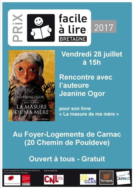 Affiche Rencontre Ogor-Prix Facile a Lire 28072017_Mediatheque Carnac